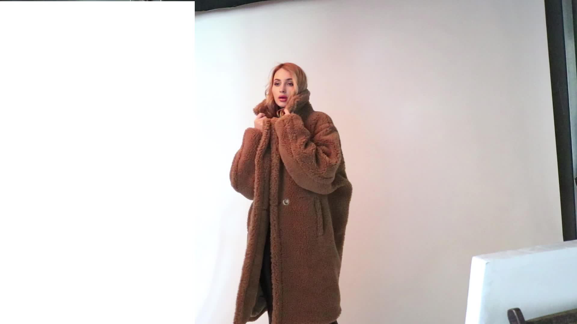 Fashion long fur coat teddy bear coat sheep shearing fur coat