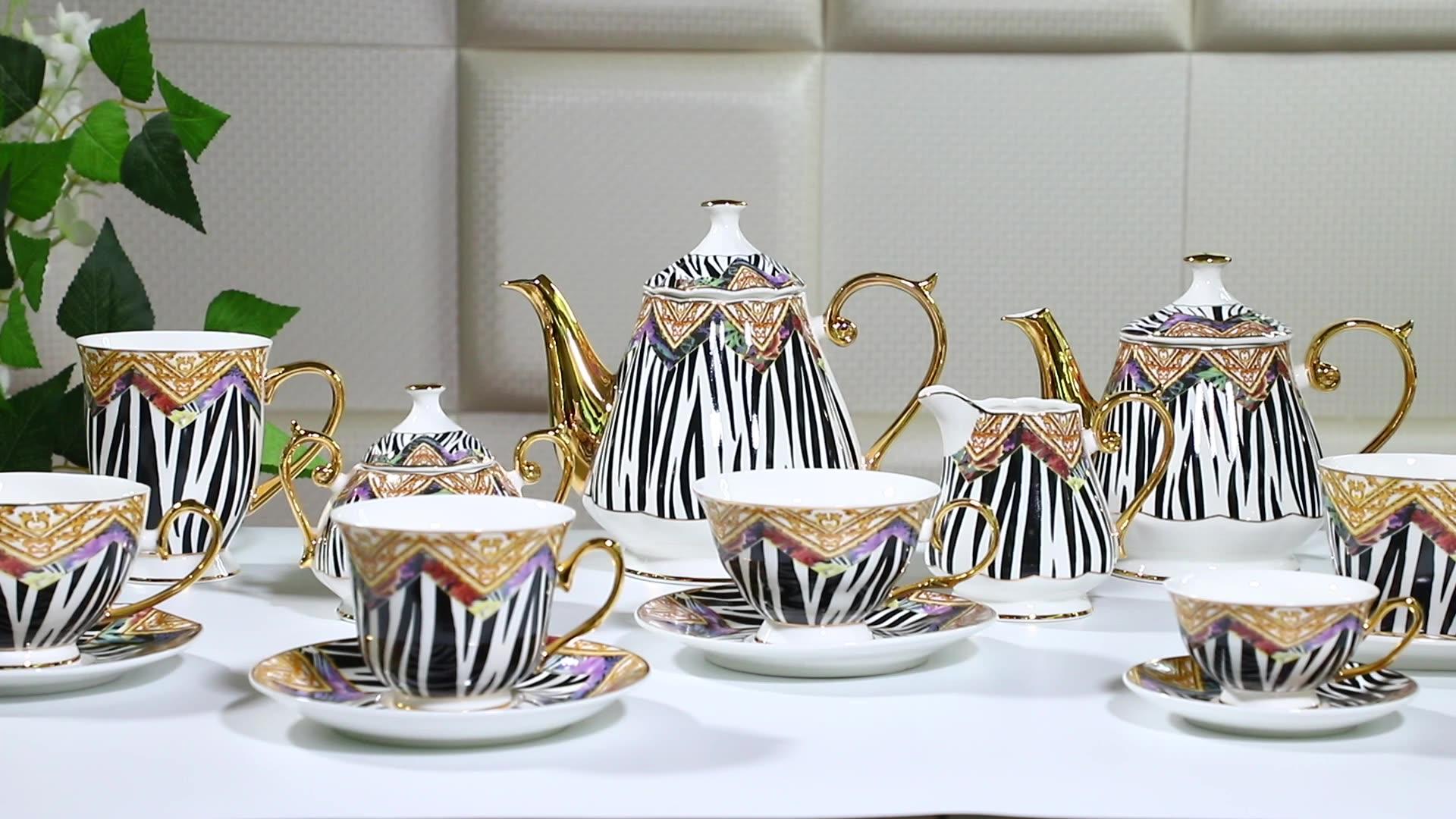 Full deca design royal style new bone coffee cup saucer ceramic tea set