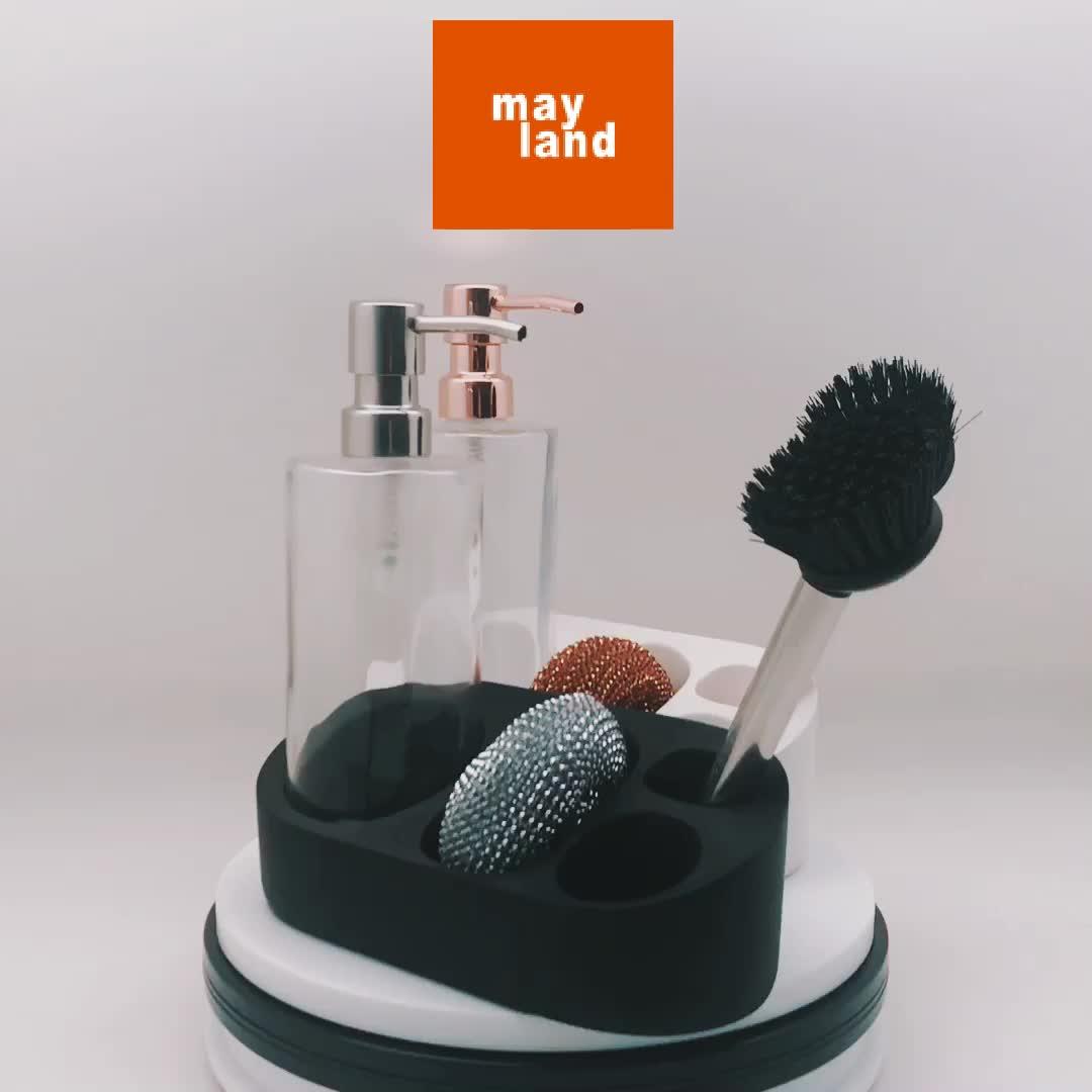 3N1 yardımcı losyon pompası banyo ve mutfak cam şişe ve paslanmaz çelik fırça sünger caddy organizatör lavabo temiz caddy