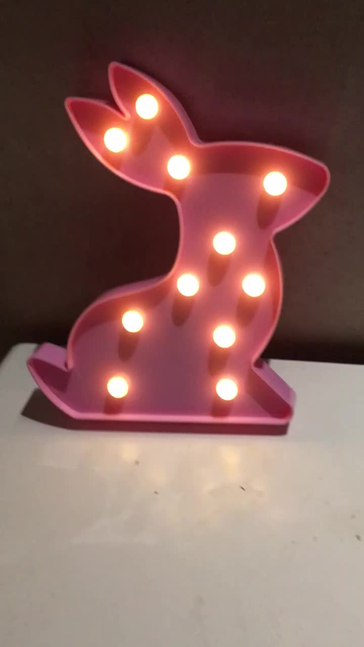 Bedroom Party Home Decoration Holiday Gift for Kids 3D Rabbit Marquee Sign Light
