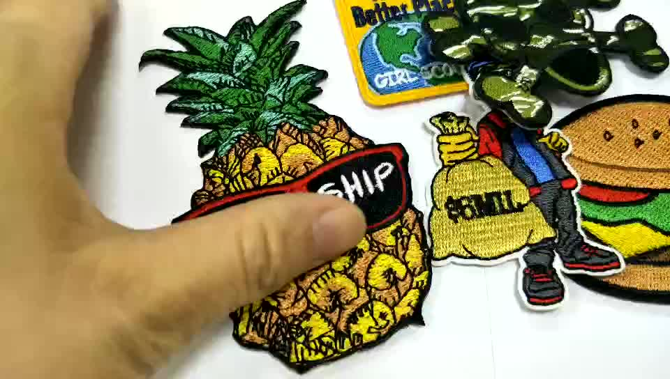 custom embroidered patches sew on jacket money design applique patches for clothing
