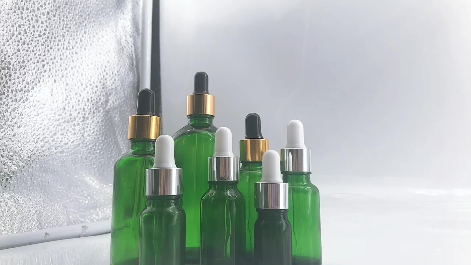 Schnelle Verschiffen Leere Glas Flasche 10ml Grün Blau Klar Gefrostet Ätherisches Öl Flasche Parfüm Öl Dropper Flasche mit Pipetten