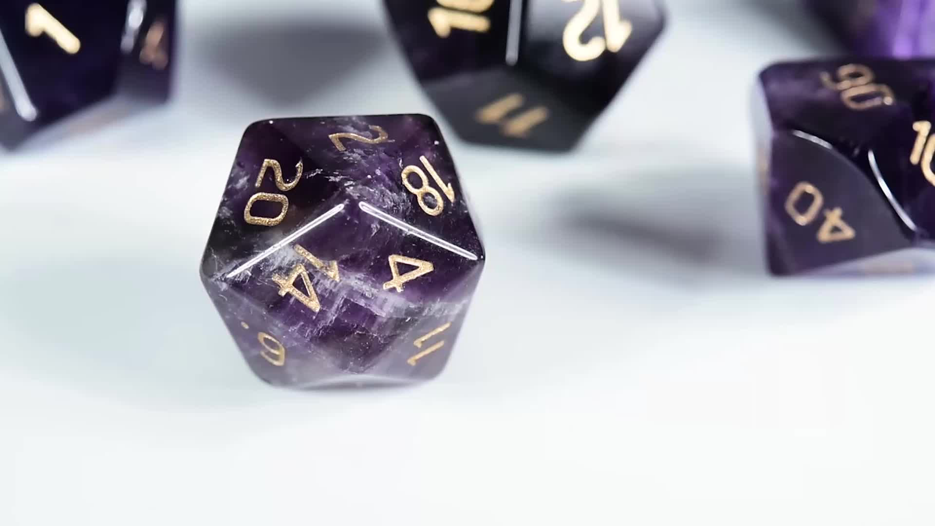 Natural Gemstone Amethyst Game Dice, handmade Engraved stone dice For DnD RPG