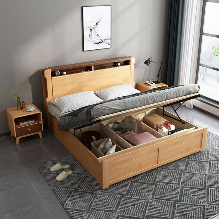 Juego de dormitorio de madera, marco moderno, cama de Hotel de diseño doble King