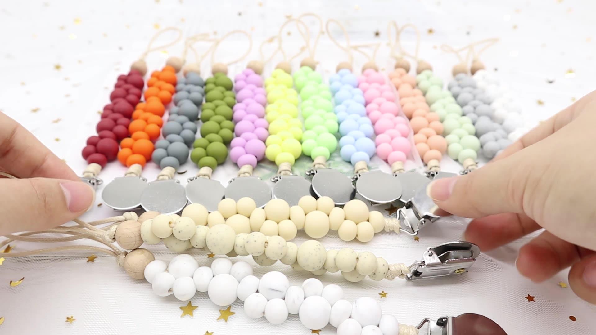 Whosale BPA Frei DIY Silikon Beißring Perlen Schnuller Clip Kette Für Baby Zähne