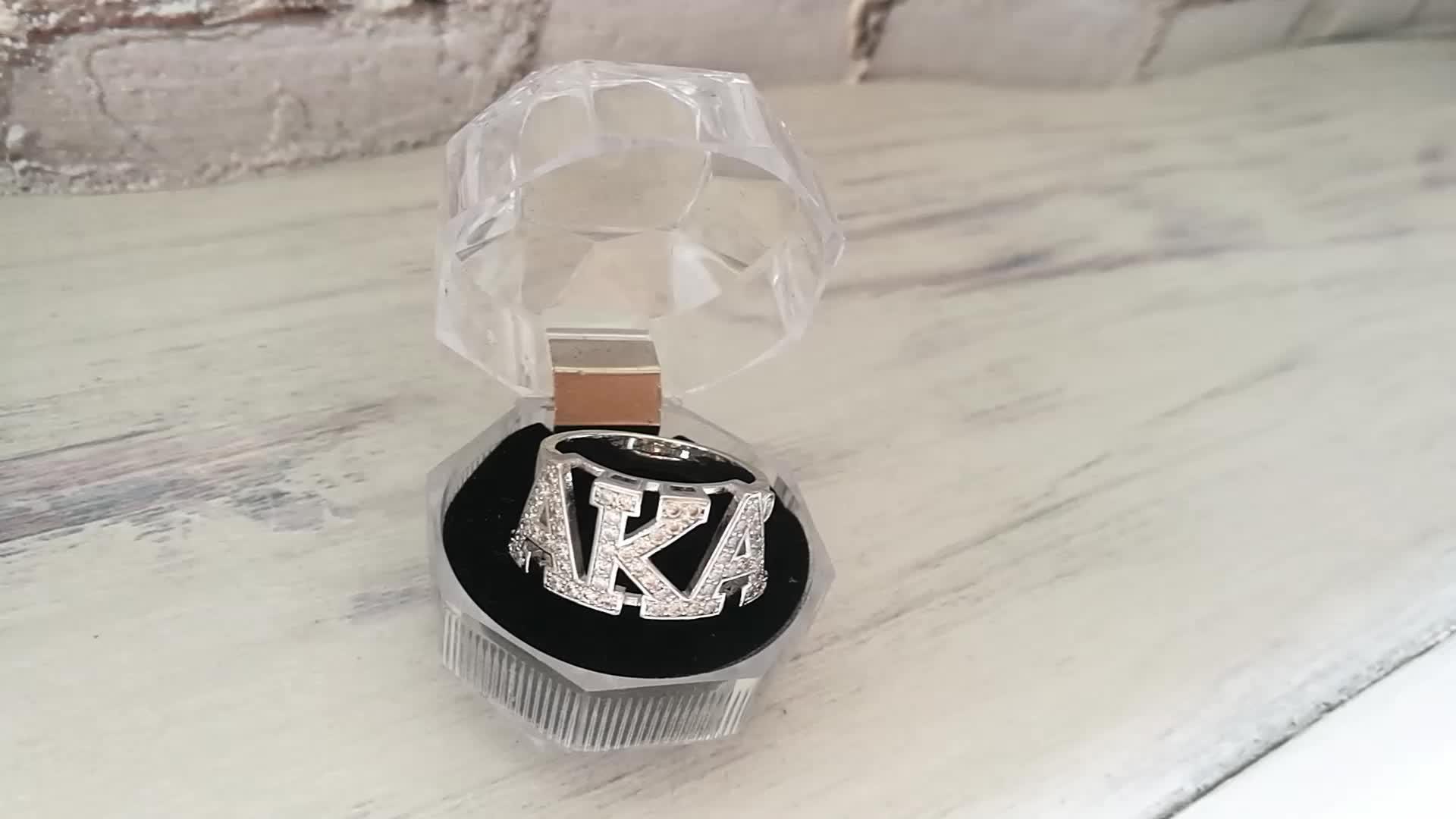 Custom Grecia Greco di Alta Qualità Cubic Zirconia Personalizzato Sorority Dst Lettera Alpha Kap Alpha Aka Anello