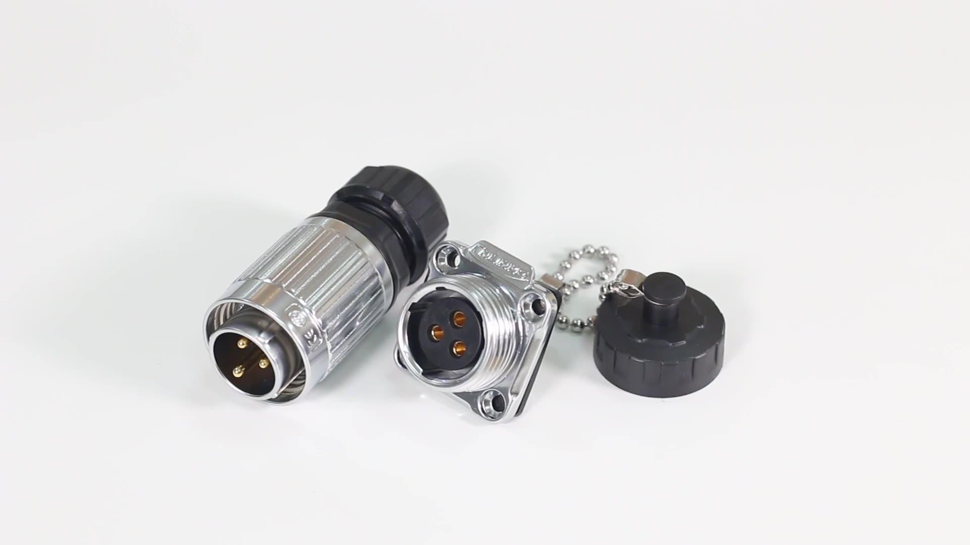 YW-20 4 pin dairesel vida su geçirmez güç fiş konnektörü ile ip67 koruma seviyesi
