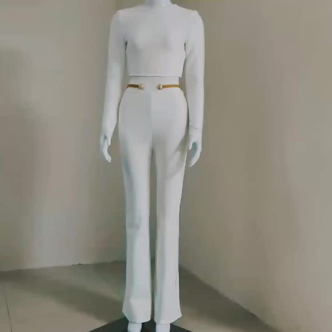 C1833 New 2020  White Rayon Two Piece Bandage Set Long Sleeve Top And Pant High Quality Suit Wholesale