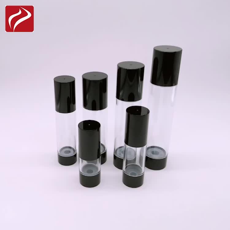 15ml 30ml 50ml मुद्रित पारदर्शी वायुहीन पंप बोतल दौर प्लास्टिक कॉस्मेटिक बोतलें