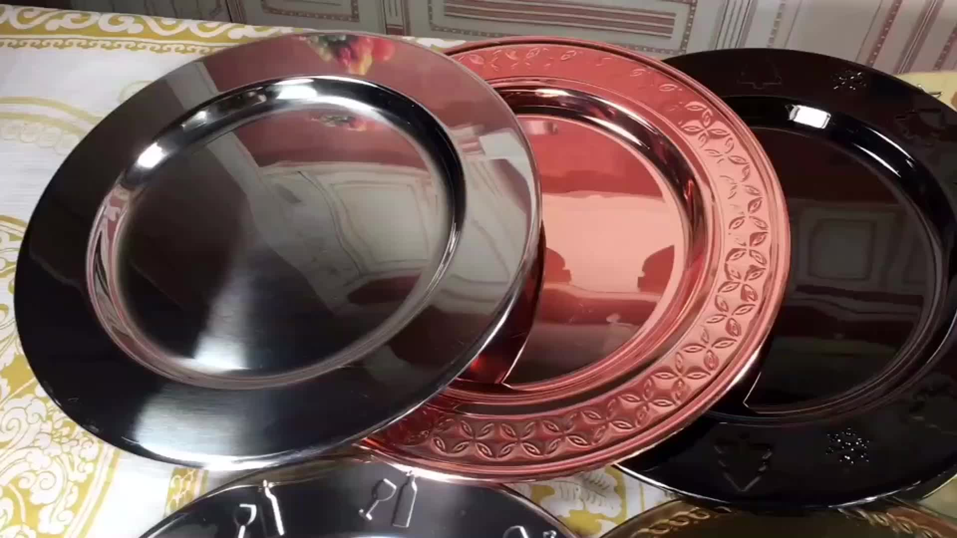 Cheap Wholesale Wedding 201 Western Plate stainless steel Round Charger plates Rose Gold Charger dishes