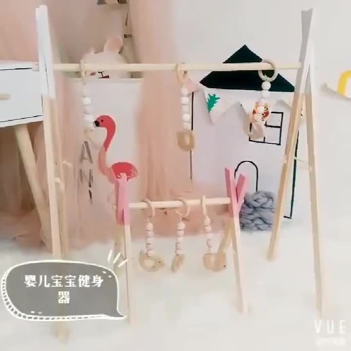Best Selling Green Wooden Ornaments Baby Gym Toys