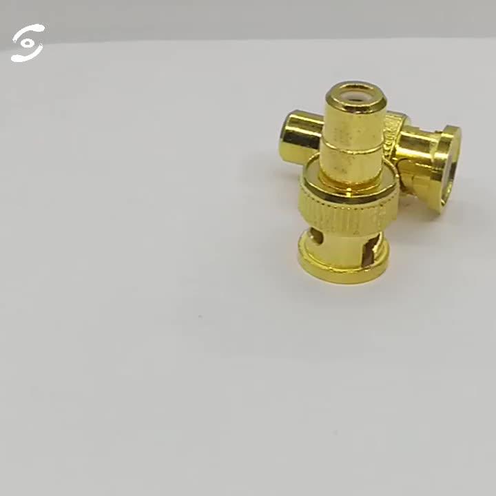 ゴールドプレート rca プラグに BNC オス圧着コネクタストレート CCTV カメラアクセサリーアダプタ