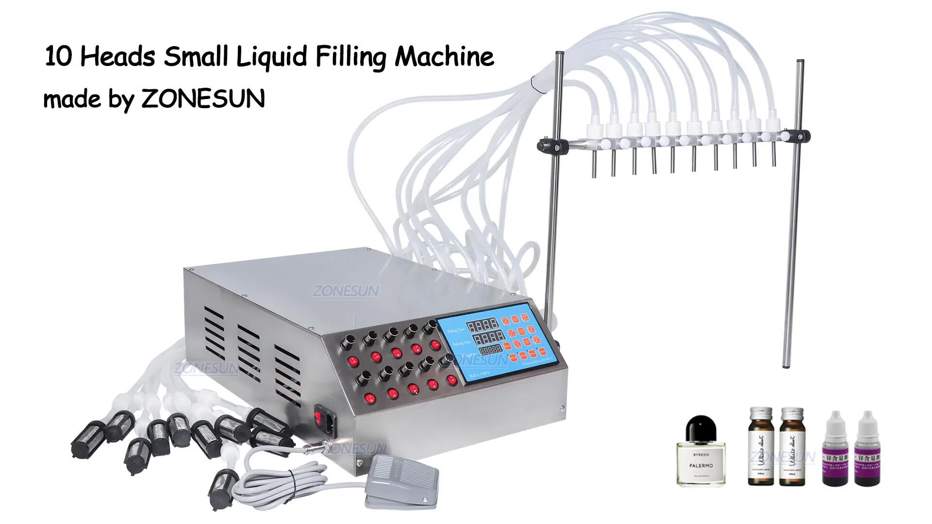 ZONESUN 10 Köpfe Parfüm Fläschchen Oral Flüssigkeit Füllung Maschine schlauchpumpe Füllstoff 50ml Kleine Flasche Füll Maschine