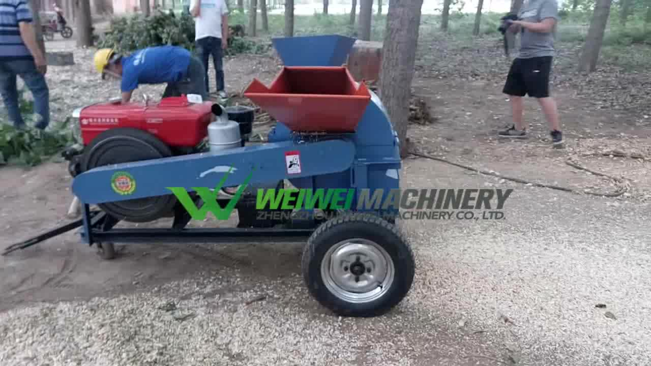 Weiewei Electric diesel engine crusher mill wood chipper forestry machine for sale
