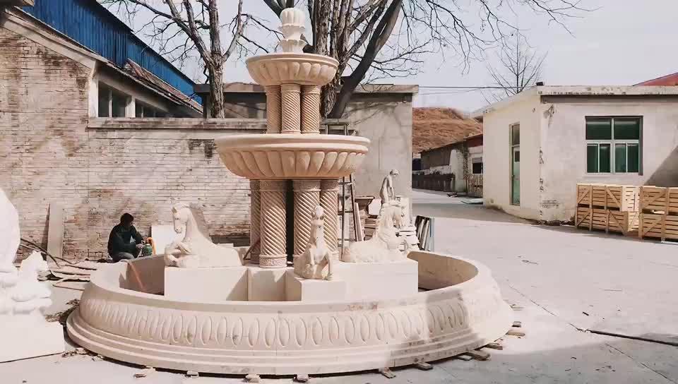 PFM fabbrica della Cina all'aperto statue di cavalli fontana in marmo per il progetto di villa di design