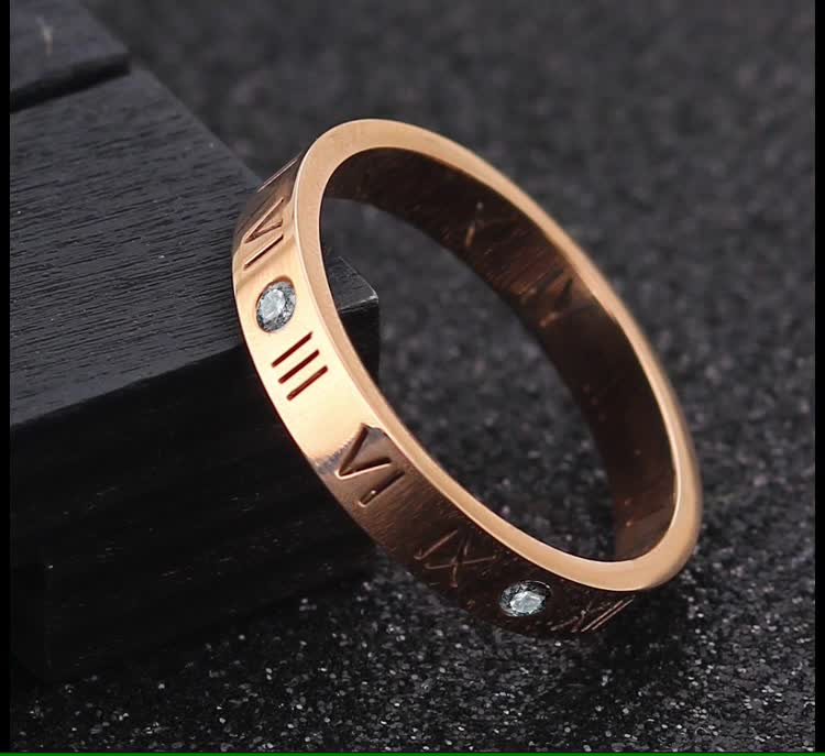 2019 Wedding Men and Women Diamond  Rose Gold Plated Engagement Silver Stone Stainless Steel Ring