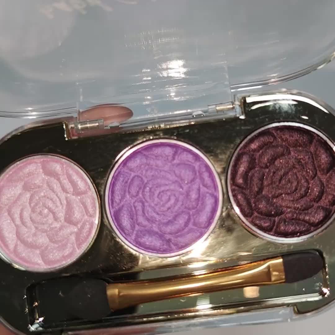 BABY GAGA brand cosmetics 3 color rose eyeshadow palette with brush inside eye shadow palette