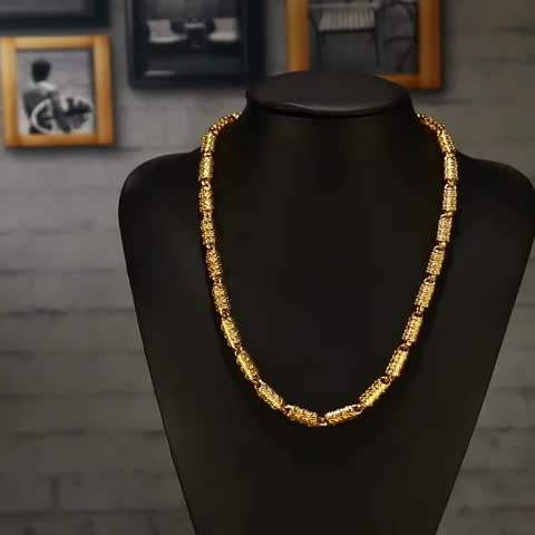 Free Shipping Fashion Men Jewelry Big Gold Chain  Brass Plated 24K Yellow Gold Necklace