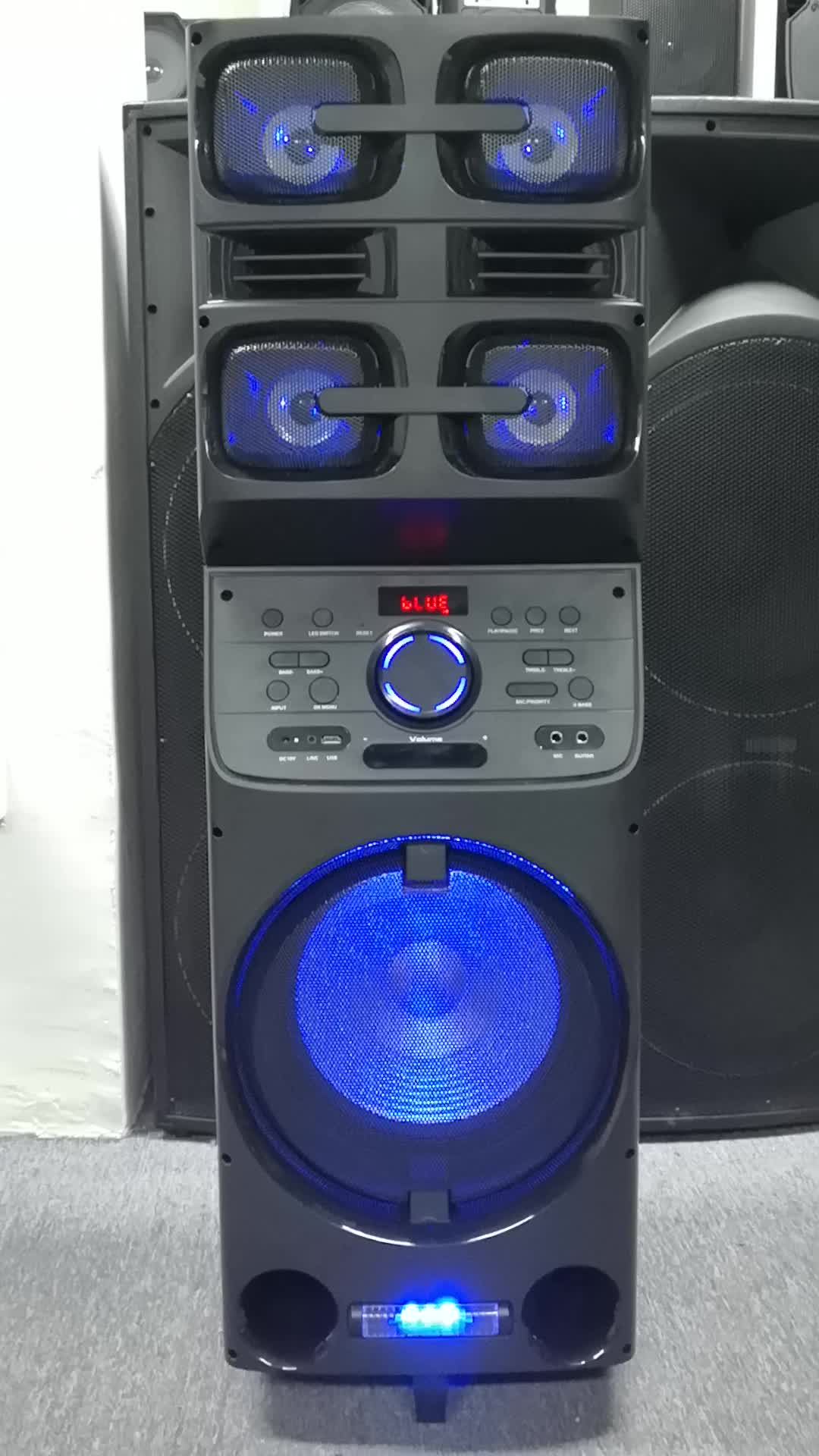 Portable party speaker 12 inch trolley recharge speaker with LED Strobe Light usb sd fm radio