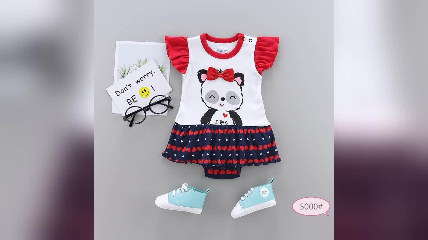 Baby short sleeve rompers infant clothing toddler boy girl wholesale baby bodysuit