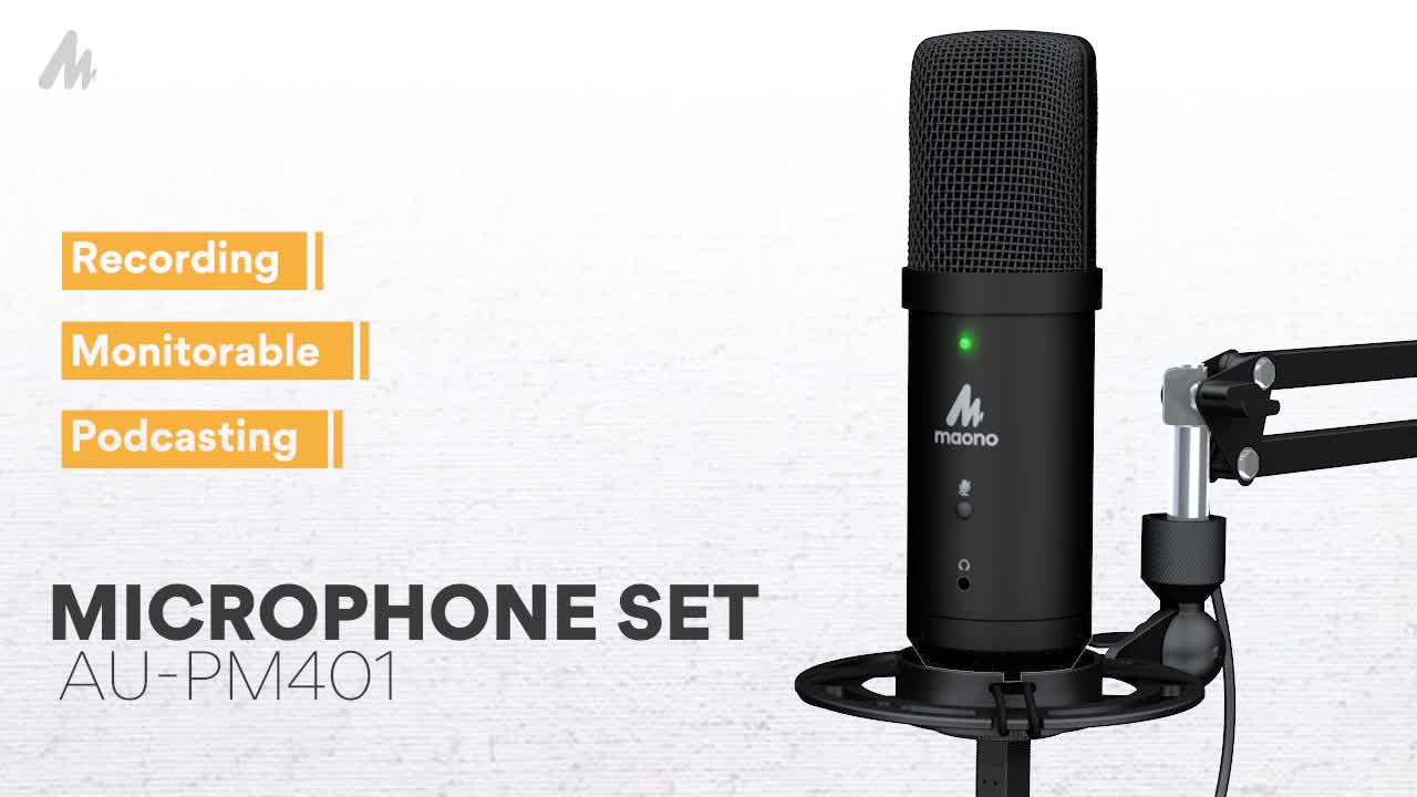 MAONO USB Microphone Podcasting Studio Microphone Can Connection Headphones