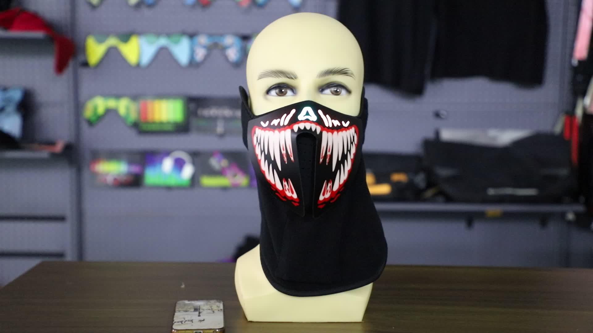 गर्म बिक्री फैशन कस्टम बहु रंग cosplay ध्वनि सक्रिय त्योहार के लिए पार्टी हेलोवीन मुखौटा ऊपर प्रकाश का नेतृत्व किया