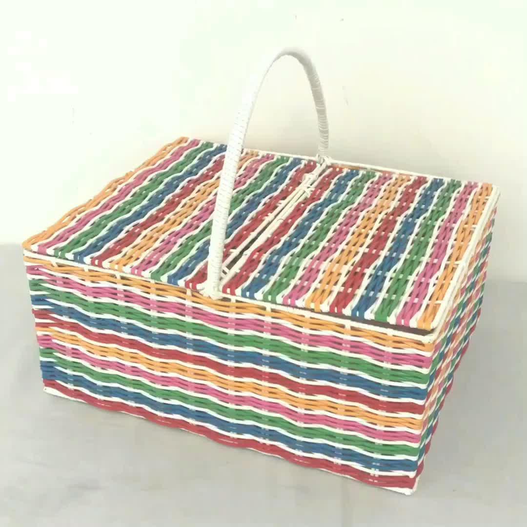 대형 직조 컬러 플라스틱 빈 저렴한 광장 격자 무늬 피크닉 바구니 판매