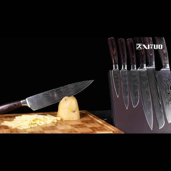 रसोई महाराज चाकू सेट 8 इंच जापानी 7CR17 440C उच्च कार्बन स्टेनलेस स्टील दमिश्क लेजर पैटर्न टुकड़ा करने की क्रिया Santoku उपकरण 8 PCS