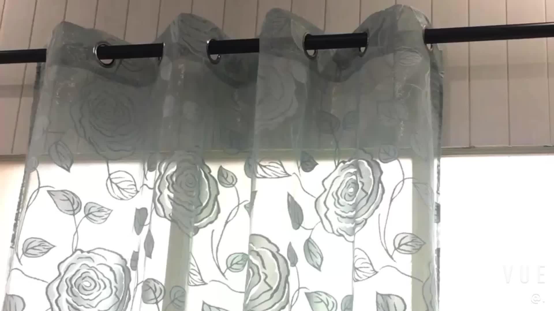 Europa Mewah Blackout 100% Polyester Ruang Tamu Tirai Kain Dekorasi Rumah Bunga Putih Tipis Cortinas Warp Knit/