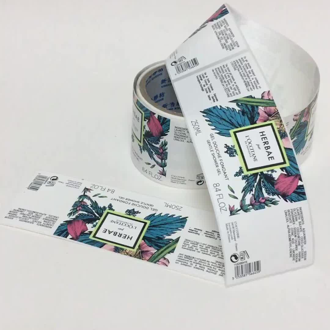Preço de fábrica de Impressão De Etiquetas Garrafa Ponto UV Adesivo Adhehsive Etiquetas Para Embalagens de Cosméticos