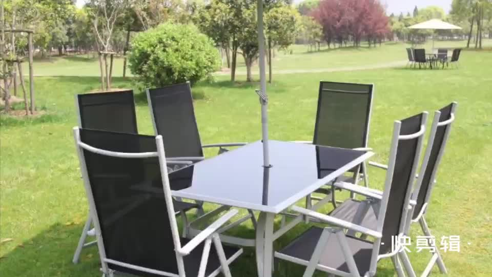 Aluminum Foldable Sling Chair 6 Seater Folding Furniture Patio Garden Sets