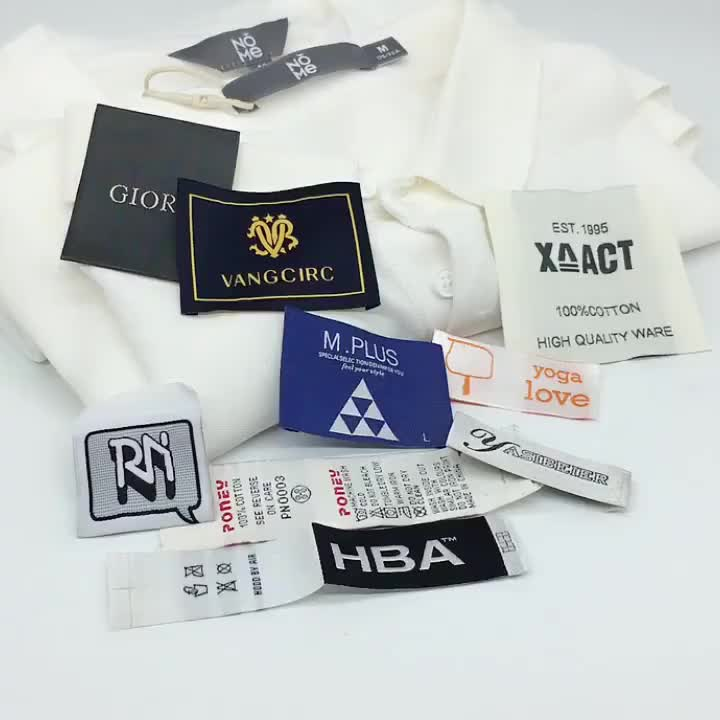 High quality custom private brand name woven logo label for clothes