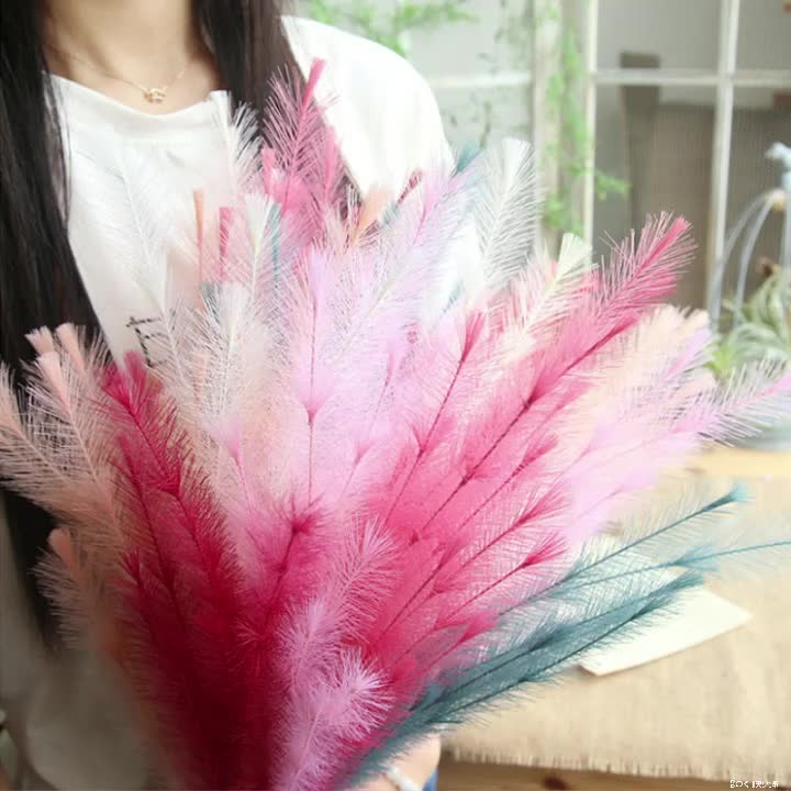 Maomao Artificial Feather Grass Plant Faux Flower Hand-Holding Road Flower Guide Dried Natural Flowers Decor for Wedding Home