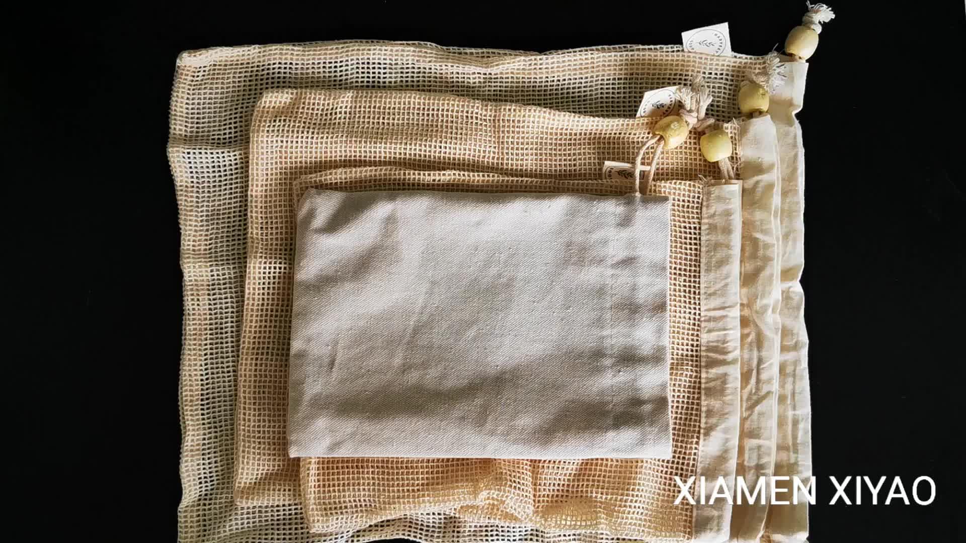 Yeniden kullanılabilir Organik Pamuk Mesh Üretmek Alışveriş Çantaları