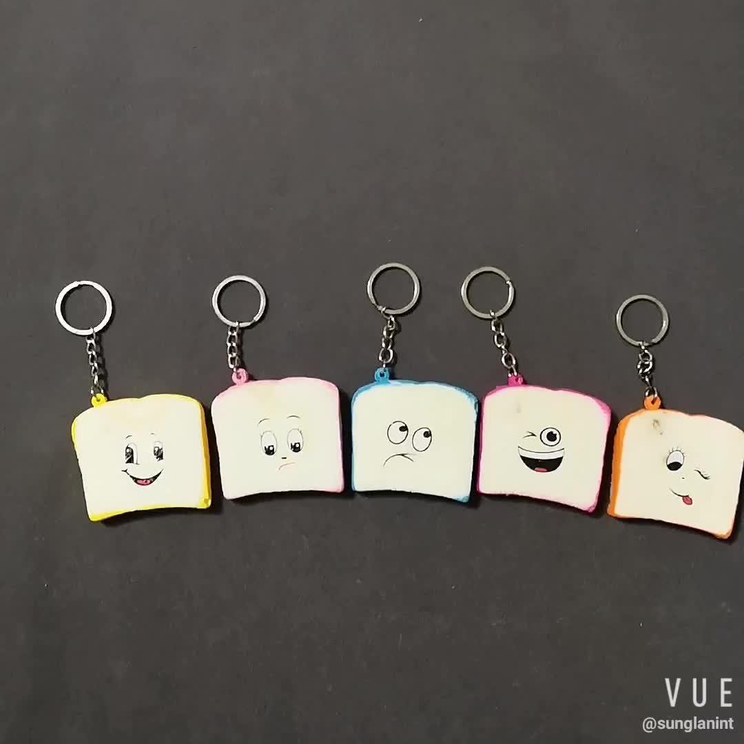 Slow rising emoji pu stress relief toy squishy toast bread scented keychain