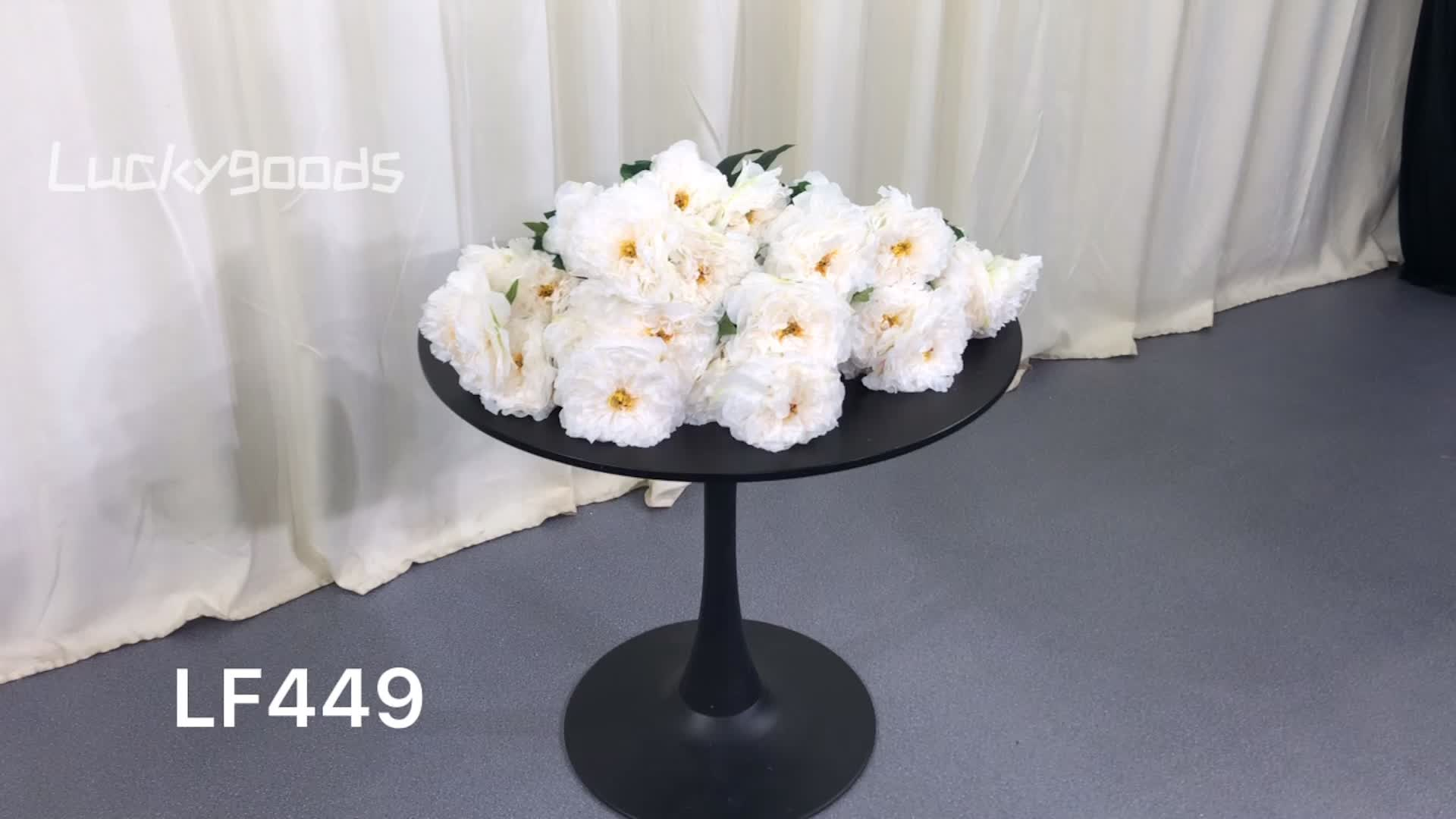 LF449 Elegant 5 heads artificial ivory silk peony flower bush for wedding indoor decoration