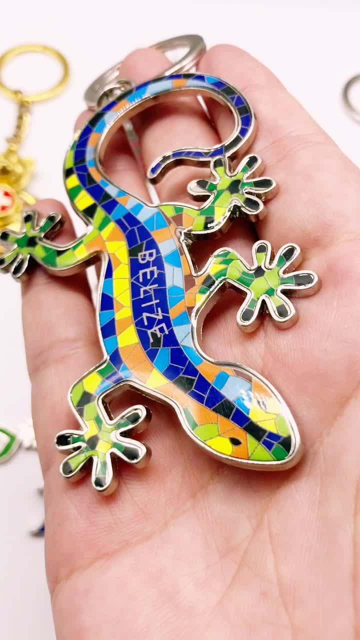 Bonito Chaveiro Souvenir de Metal Cor Lagarto Gecko Projeto Chaveiro Barcelona Keychain