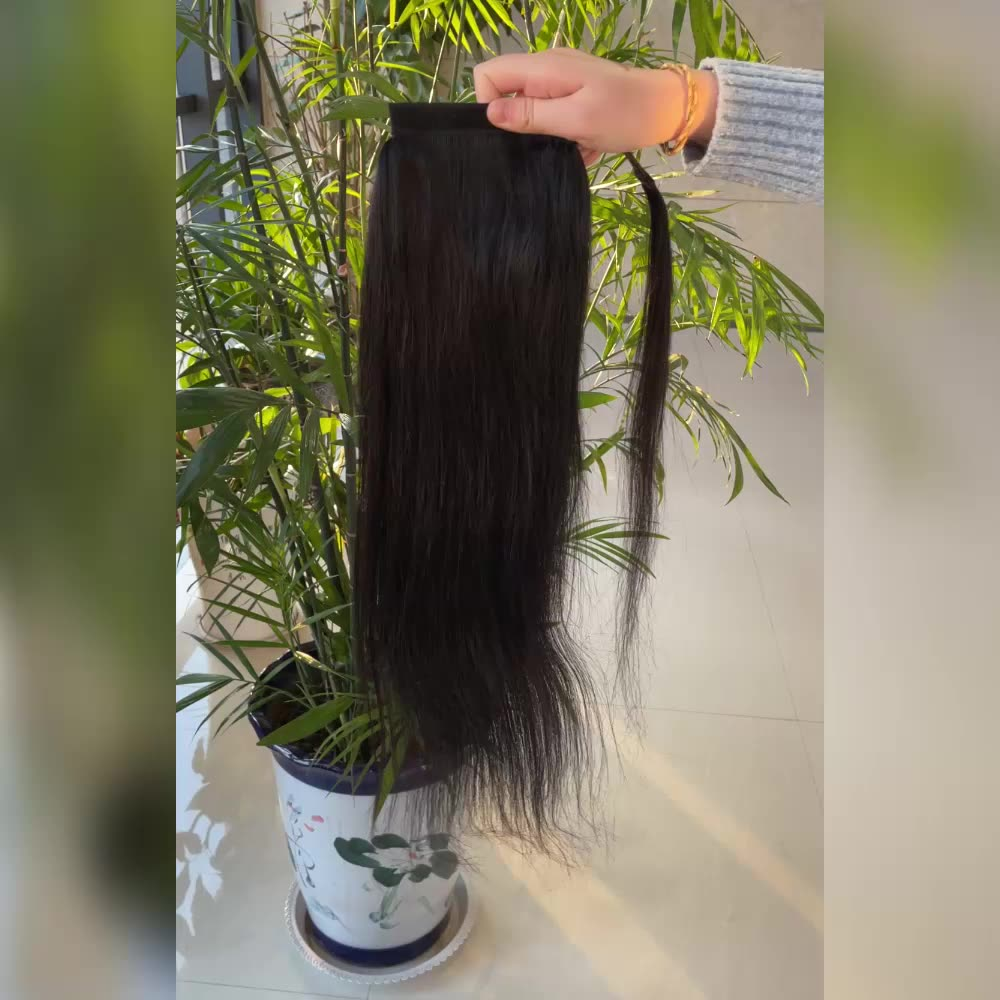 Remy 100 Brazilian hair extension for black women ponytail,blow out cheveux yaki wrap around ponytail human kinky straight hair