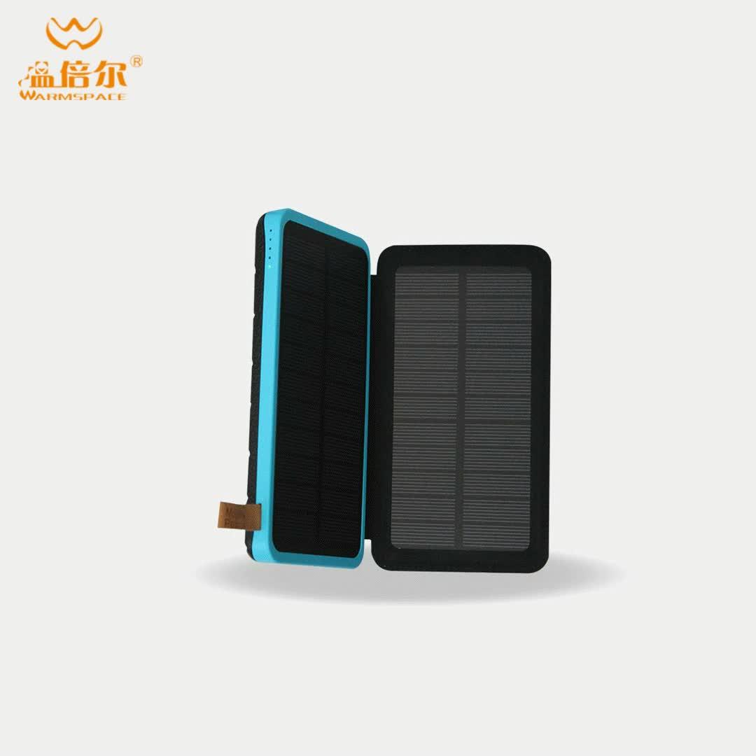 WARMSPACE 3 W/5 V 10000mAh solare banca di potere blu caricatore solare portatile impermeabile 100 w pannello solare con la luce del LED OEM di sostegno