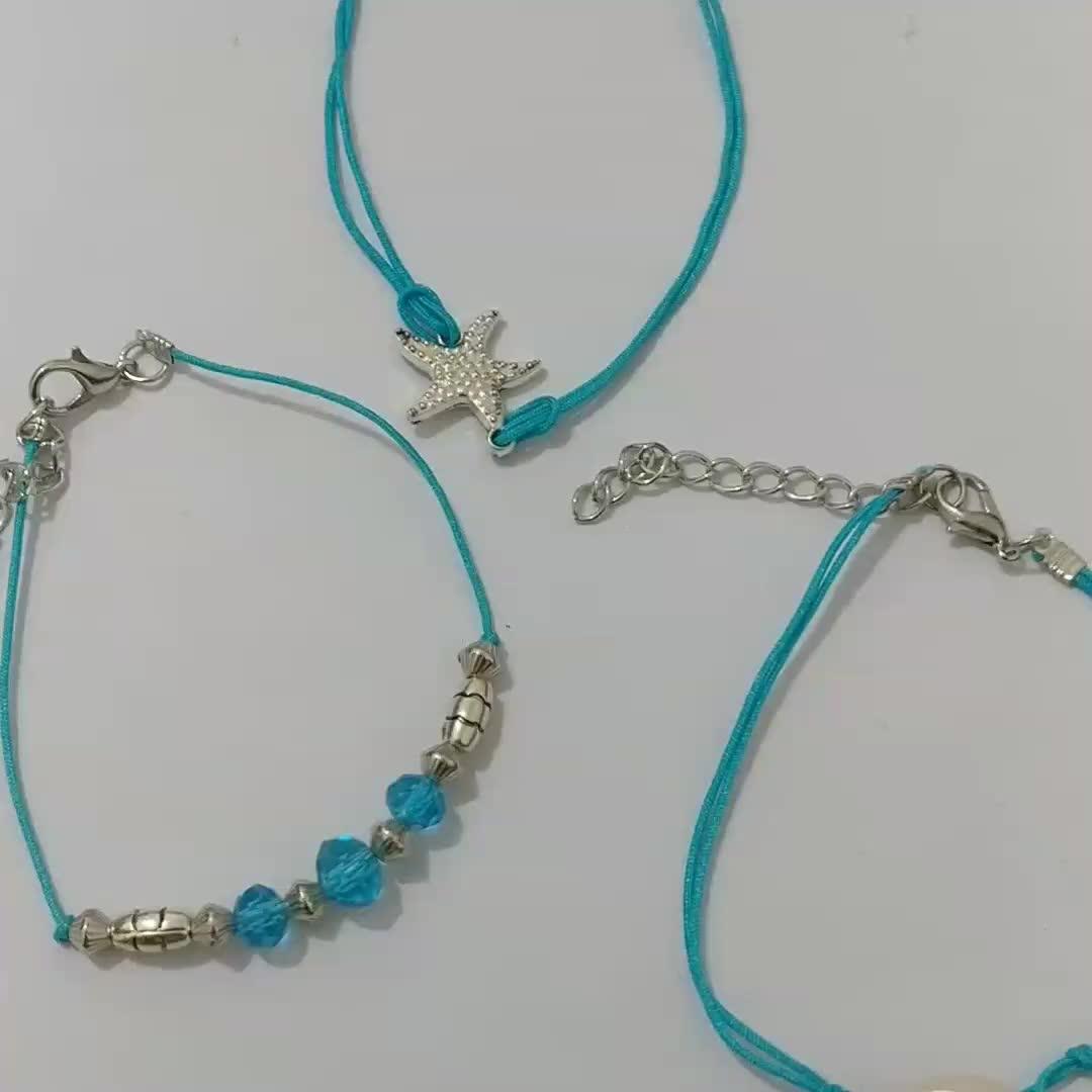 Summer Beach Creative Bohemian Starfish Shell Blue Beads Anklet Set Three-Piece Set