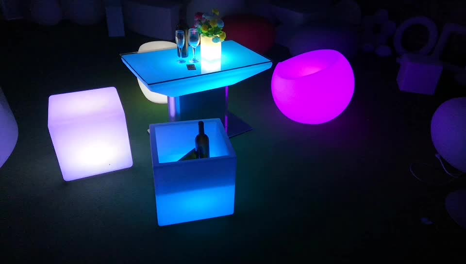 rotational molding outdoor patio led furniture set sectional sofas chair table with lighting rechargeable under table light