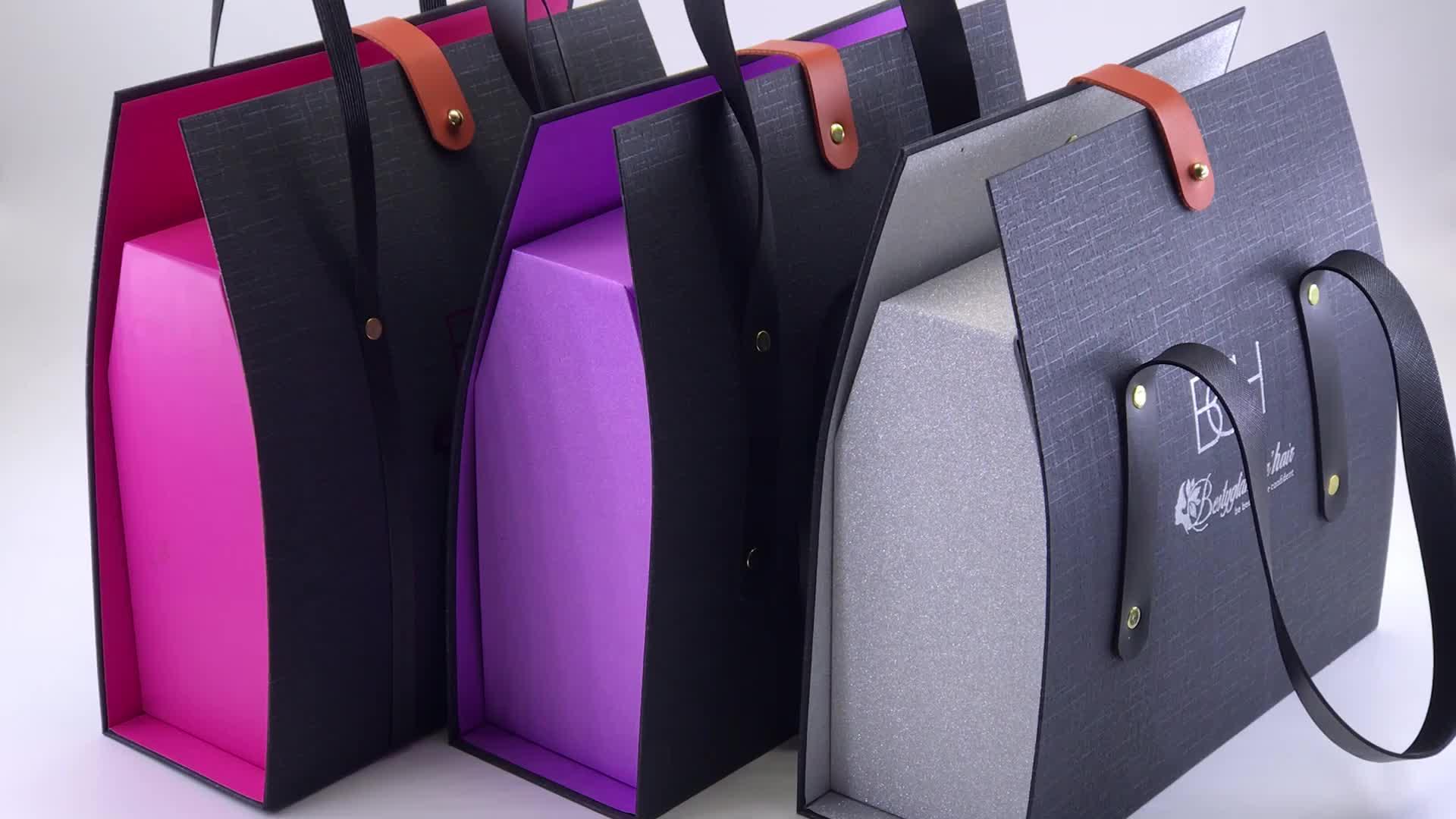 custom creative luxury matte black Cardboard boxes with metal buckles belt handle for human hair wig or hair extension packaging