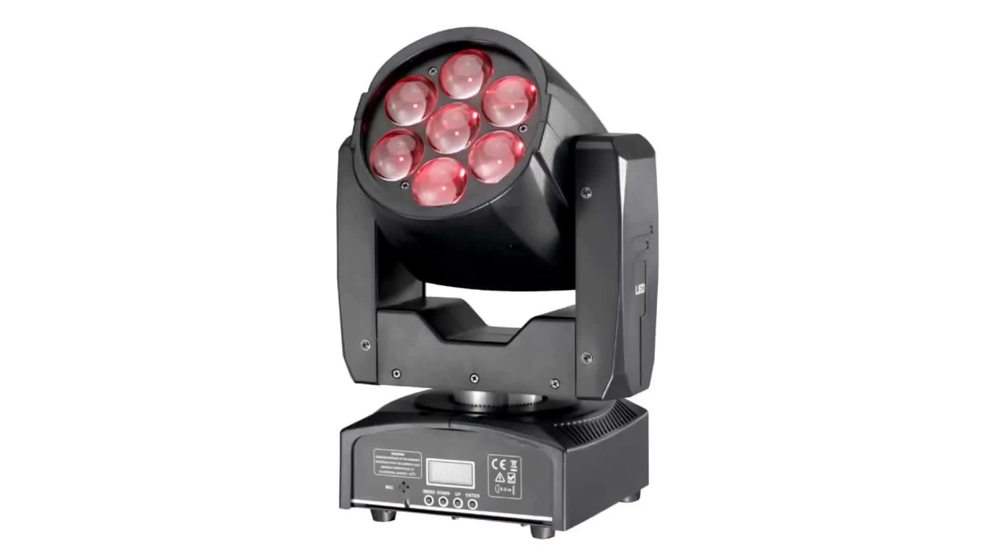 DJ stage mini lighting beam 7x12w rgbw led zoom wash led moving head