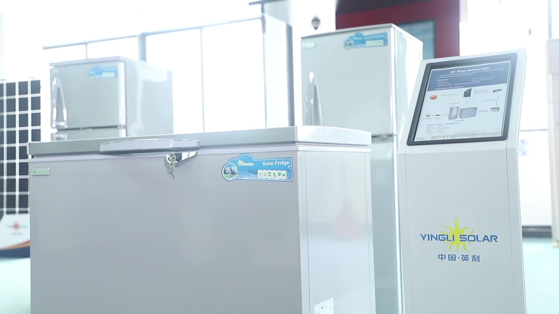 Nuova Cina Fabbrica Professionale di Energia solare DC 12V Lg Doppia Porta per la Casa Commerciale Auto Mini Congelatore Del Frigorifero Del Frigorifero prezzo