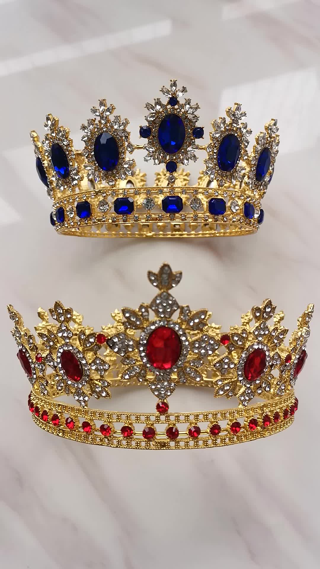 Full round Sapphire pageant crowns ruby crystal wedding queen tiara crowns