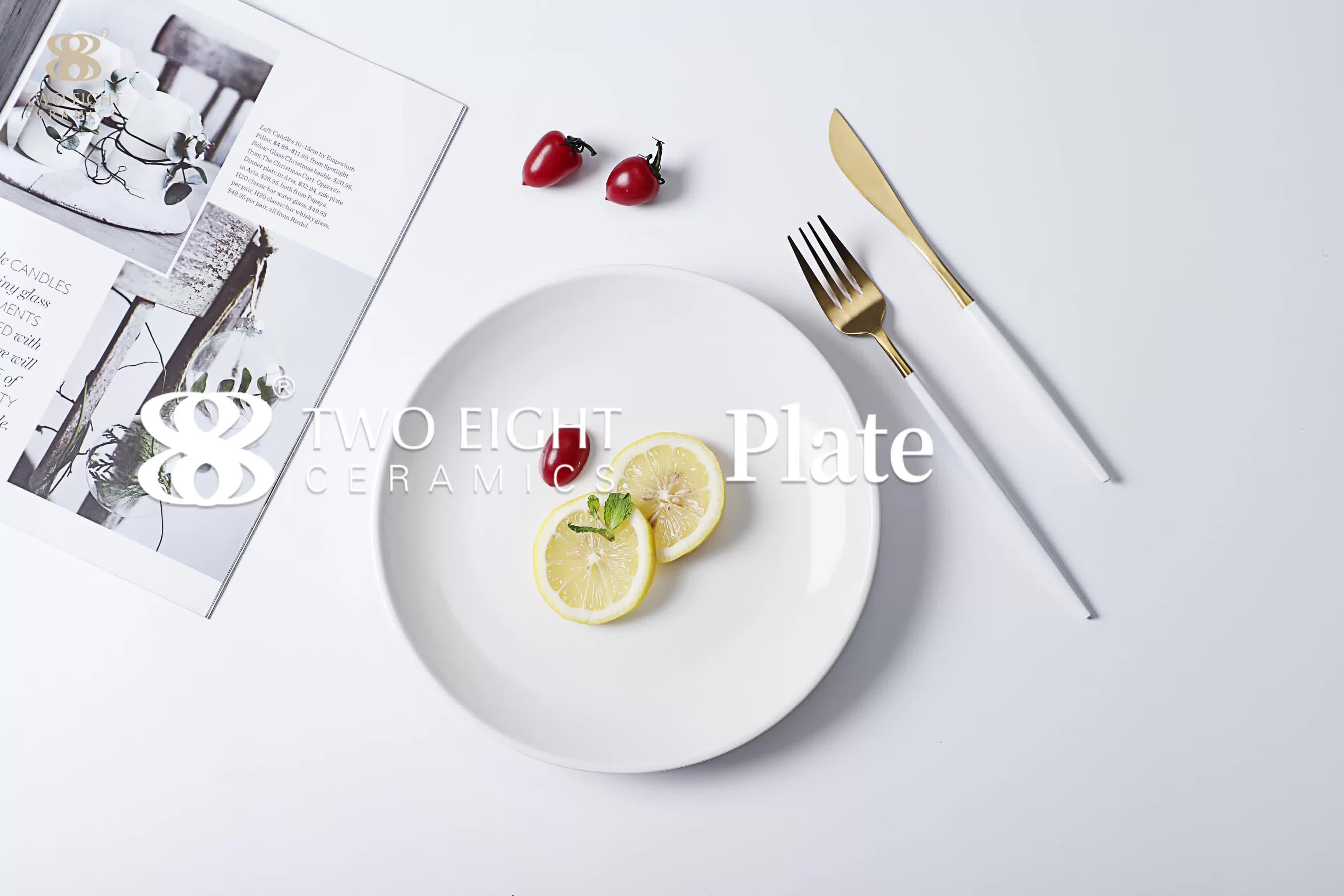 Top Sale Fashionable White  chinaware Stable Hotel  B&B  Plate, Restaurant Wedding Porcelain Dinnerware Plate Sets~