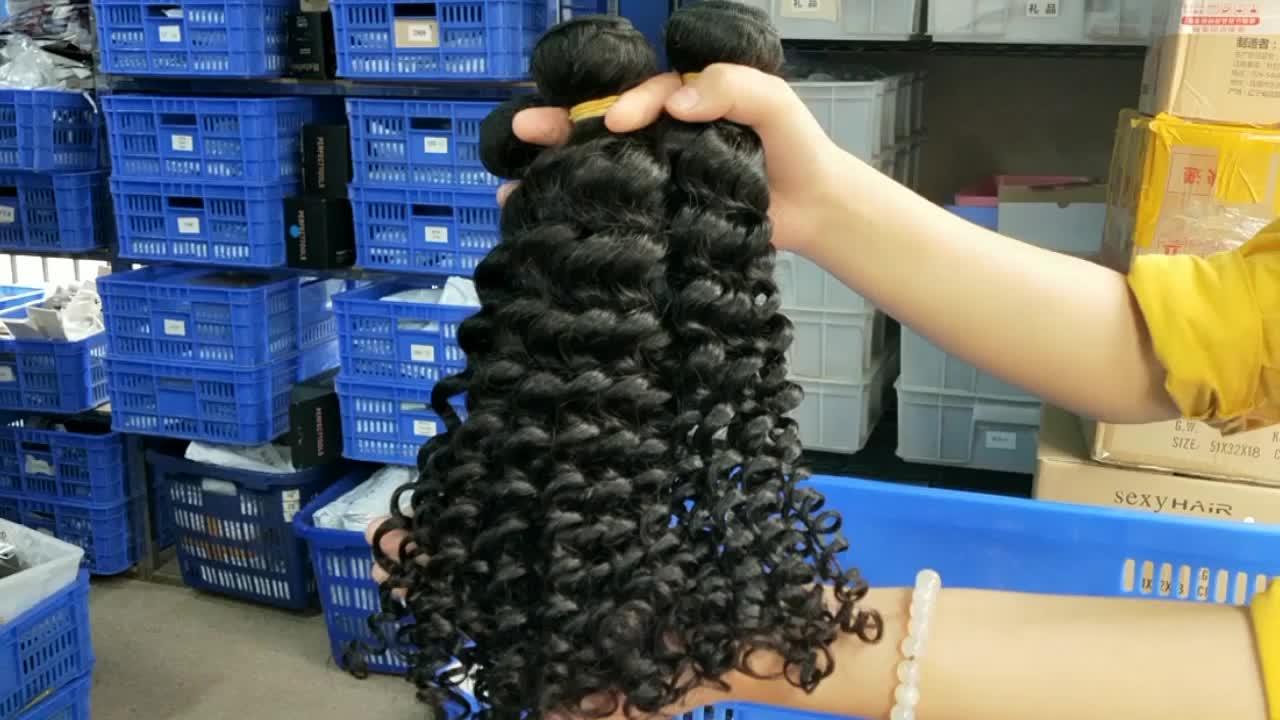 Wholesale real indian human hair bundles, virgin malaysian deep curly virgin brazilian hair weave