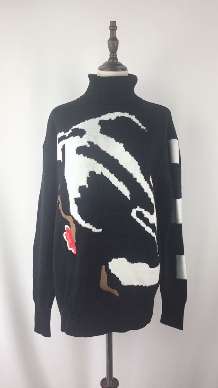 Guangzhou OEM High Quality Women Warm Winter Sweater Black Turtleneck Pullover Embroidery Chinese Cultural Stylish Sweater