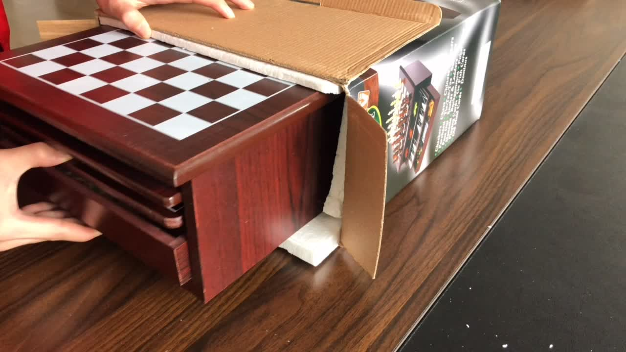 Multi 15 in 1 wooden chess table board game toy with chess  backgammon ludo domino mikado  game for kids' entertainment