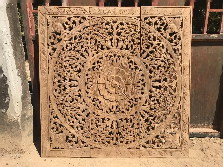arte de parede de painéis de madeira esculpida